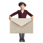 Boy holding oversized envelope
