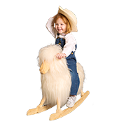 child on wooden horse