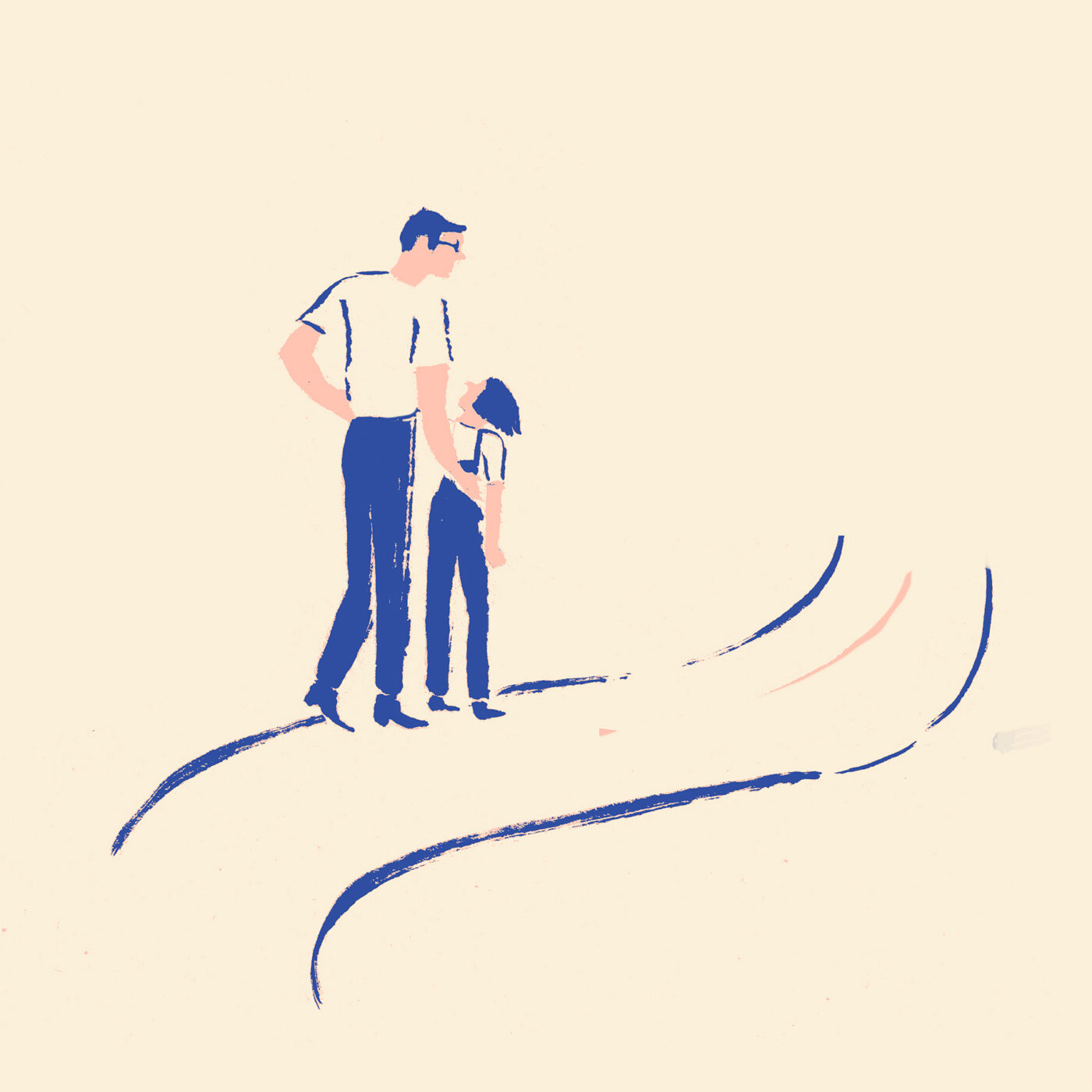 illustration of a man walking with a child