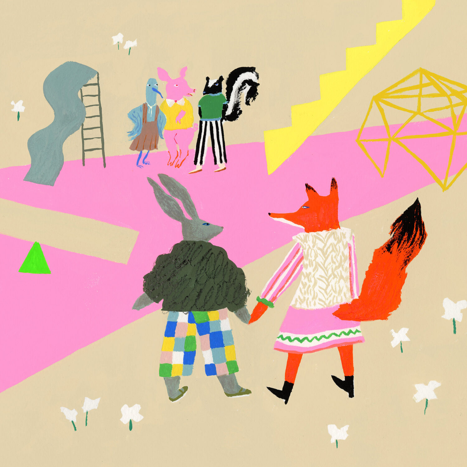 illustration of a fox and rabbit holding hands walking toward a playground