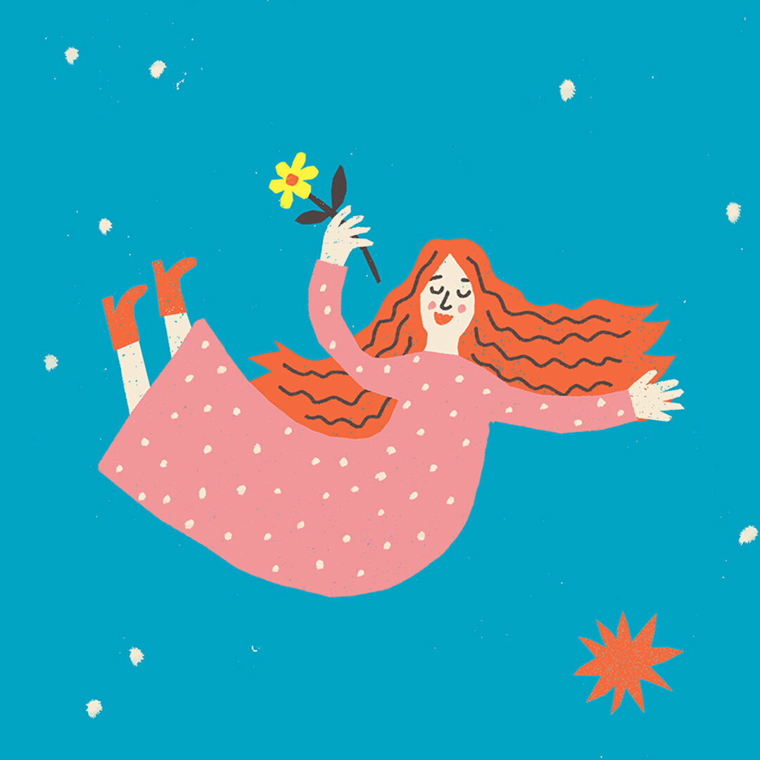 illustration of Virgo floating in space with a flower