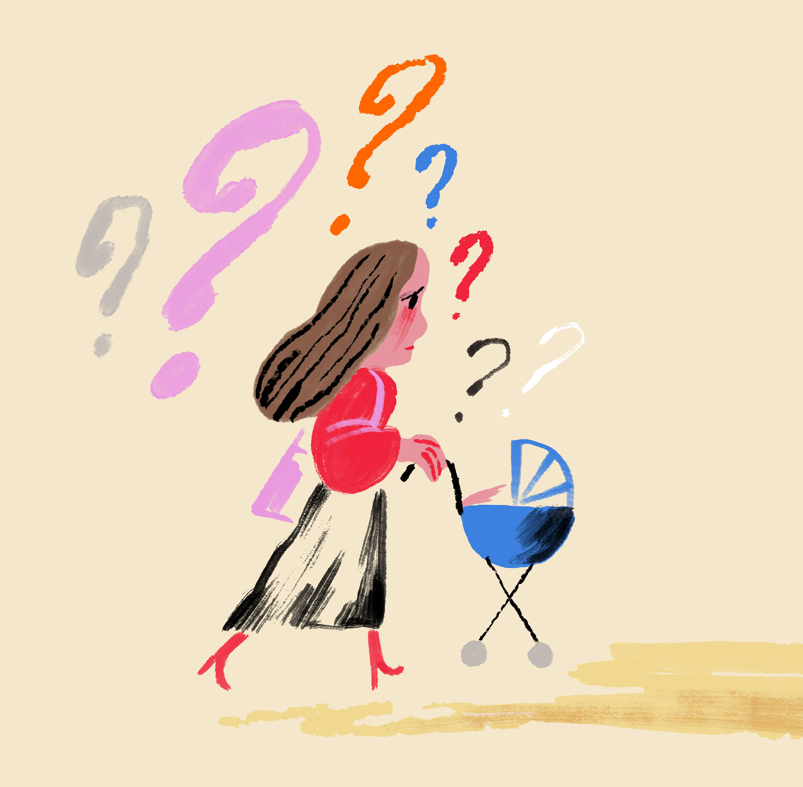 Illustration of a woman pushing a stroller surrounded by question marks