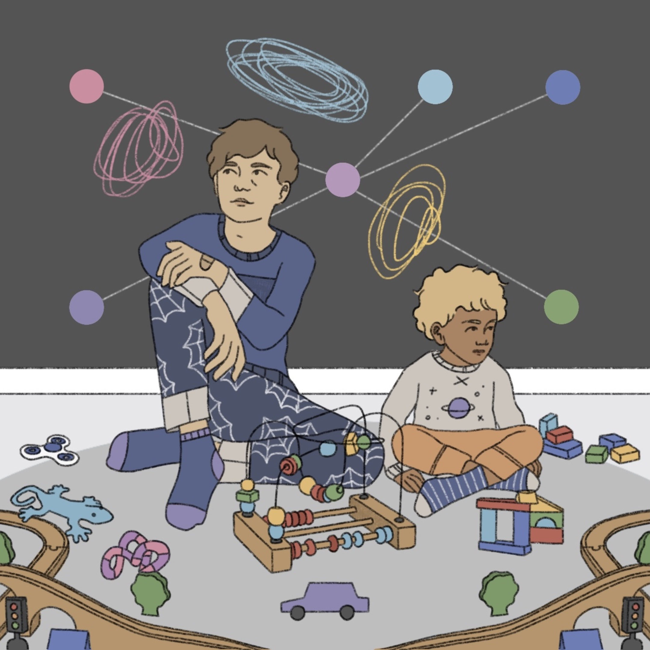 An illustration of two children sitting in a playroom surrounded by various toys and shapes.