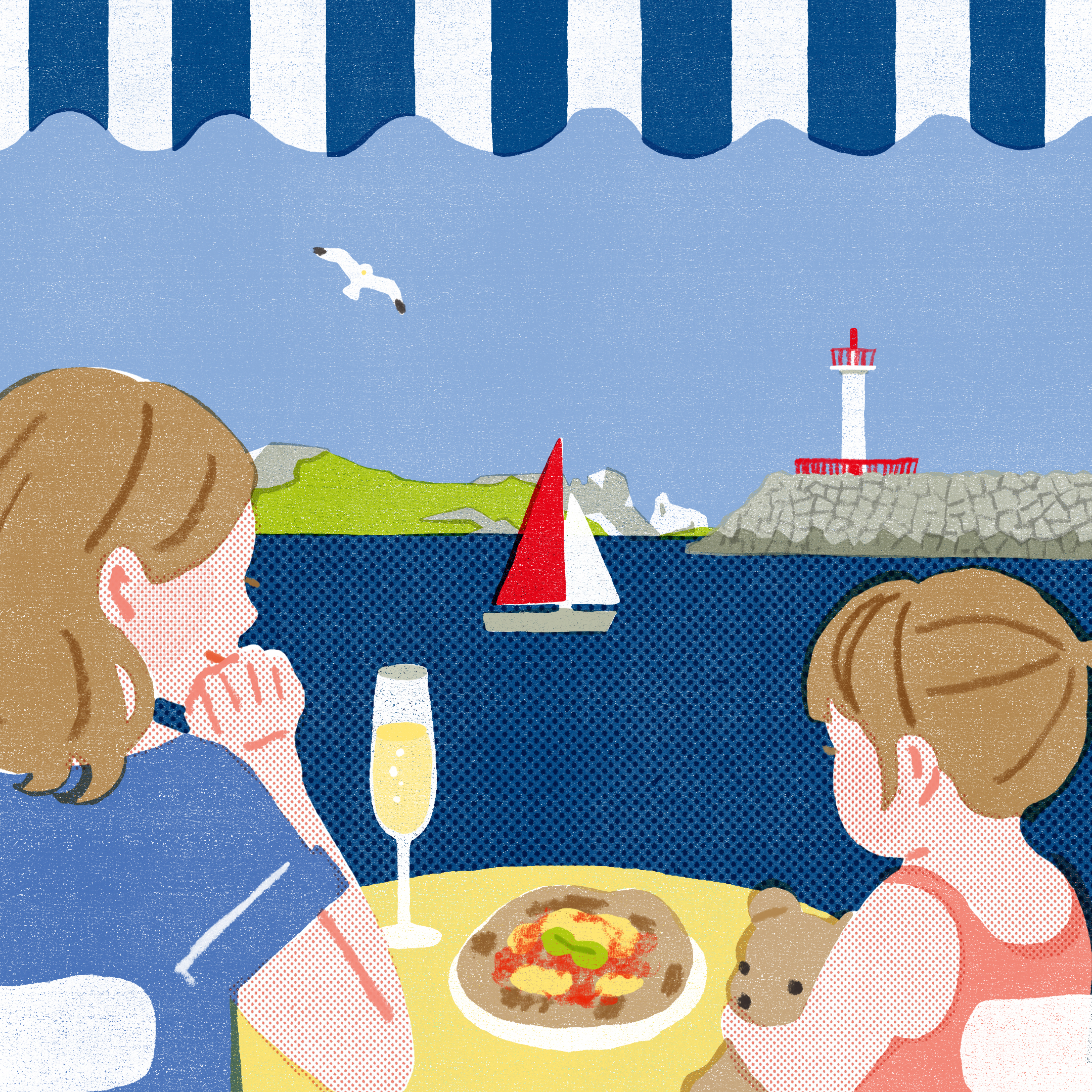 An illustration of a mother and young daughter at a seaside restaurant looking content