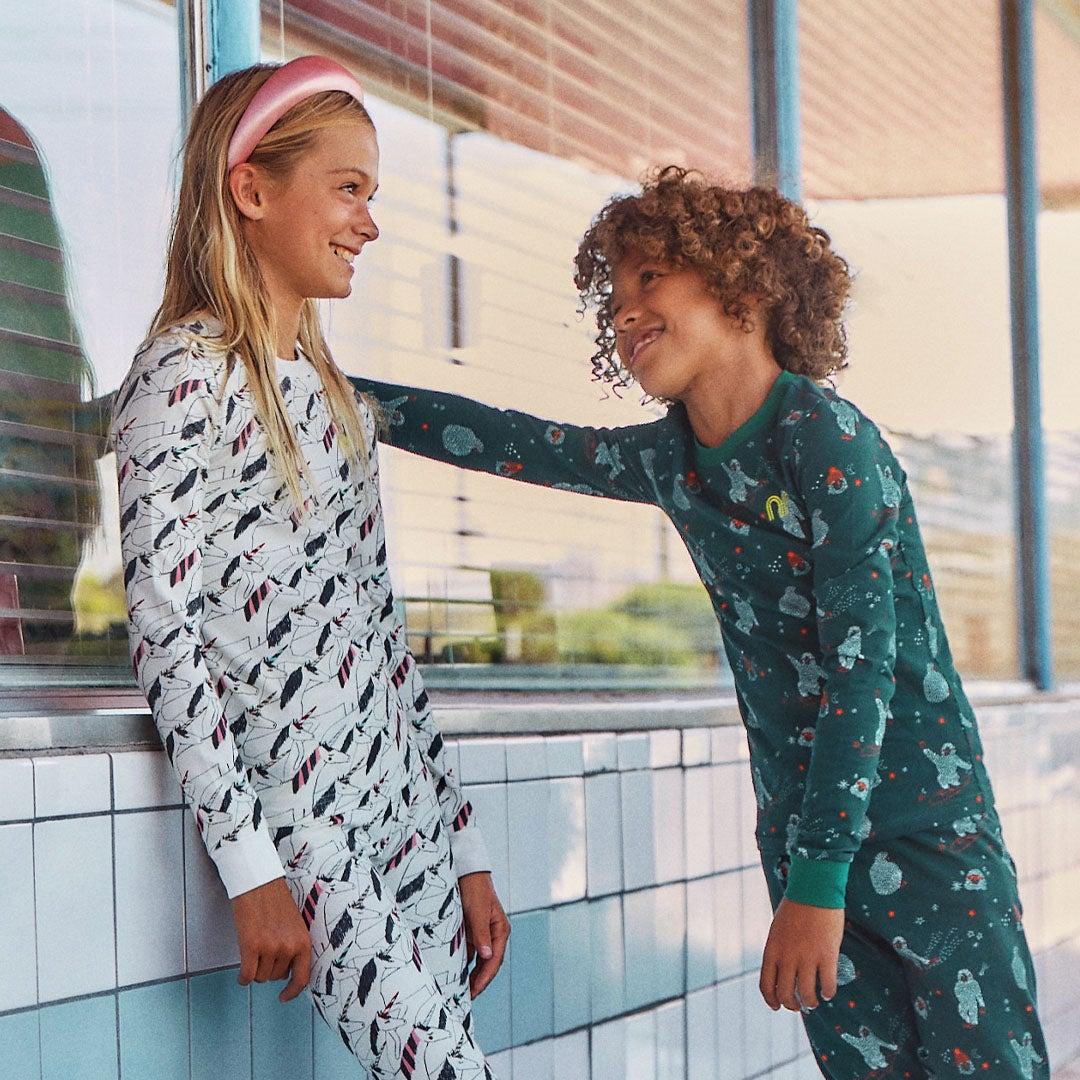 Kids outside in pajamas