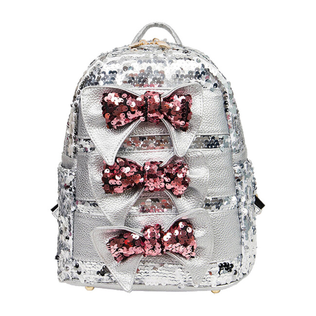 Tripe Bow Sequin Backpack, Silver