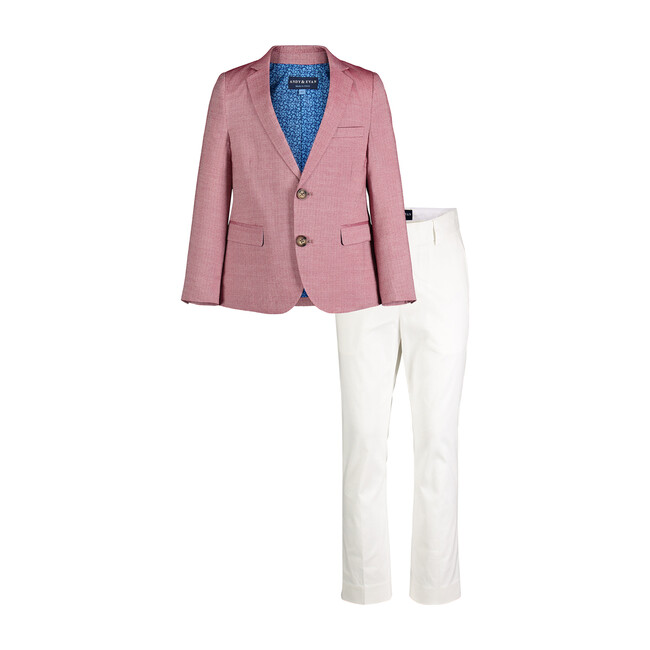 Oxford Blazer And White Pant Set