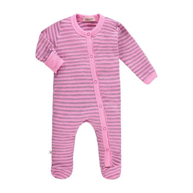 Heathered Stripe Footie, Hotel Pink
