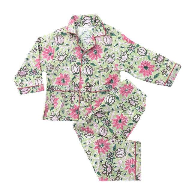 Pajama Set, Floral Pink & Green