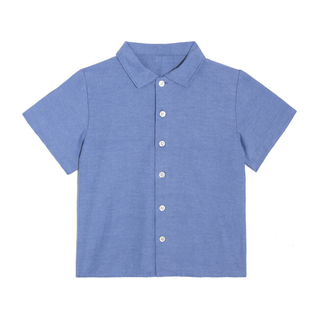 Ollie Short Sleeve Button Down, Blue Oxford - Shirts - 1