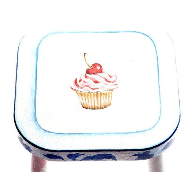 Handpainted Wooden Stool, Cupcake on Flow
