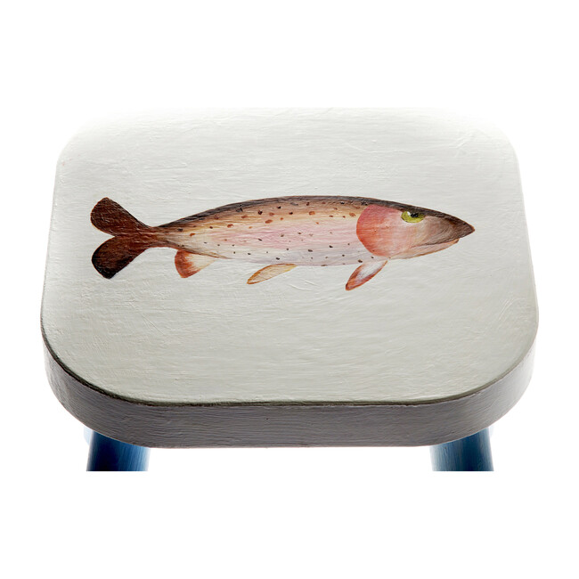 Handpainted Wooden Stool, Tucker the Trout