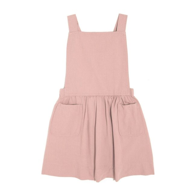 Millie Overall Dress, Blush Pink Twill - Play Dresses - 1