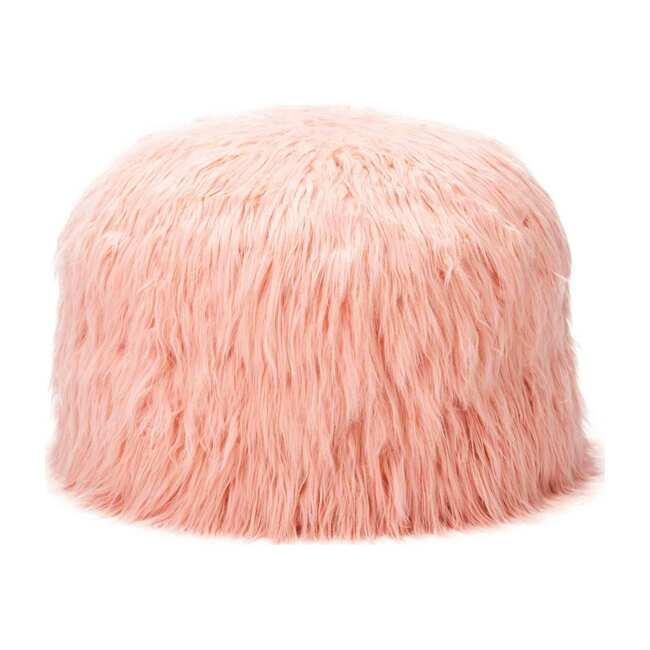 Himalaya Faux Fur Storage Pouf, Dusty Blush