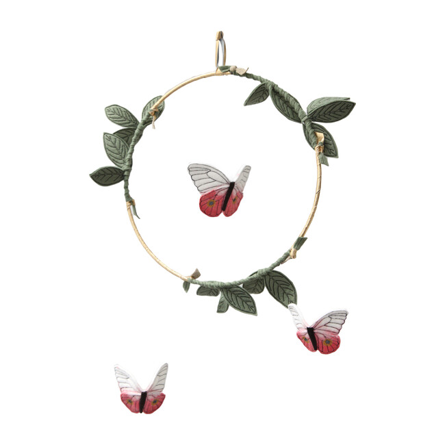 LUXE Butterfly Mobile in Coral, Gold and Green