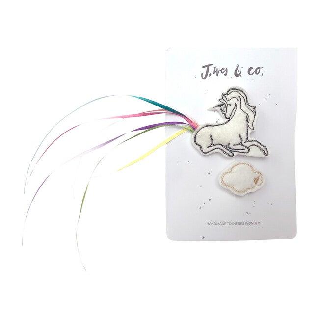 Unicorn Hair Clip Set, White