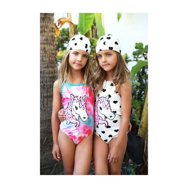 Flip Unicorn Heart Swimsuit, Black and White