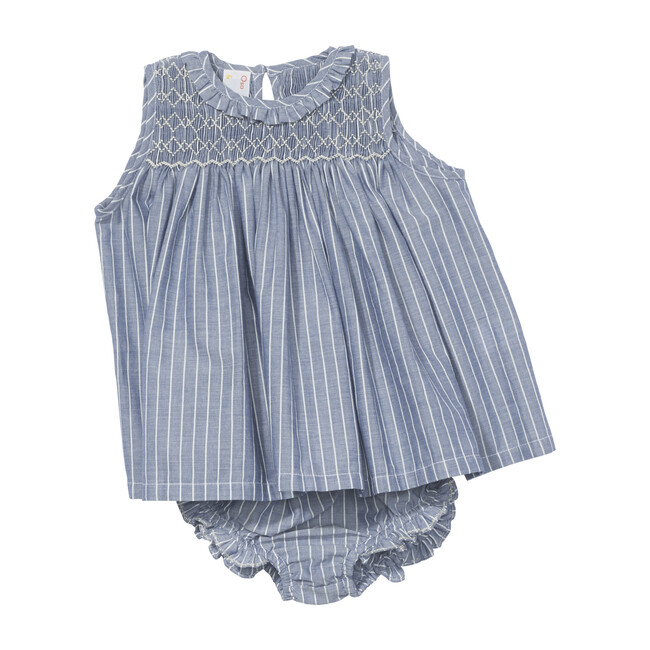 Nora Baby Dress, Clipped Chambray
