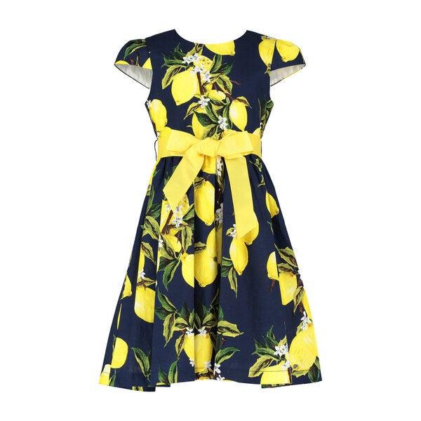 Cotton Lemon Party Dress, Navy