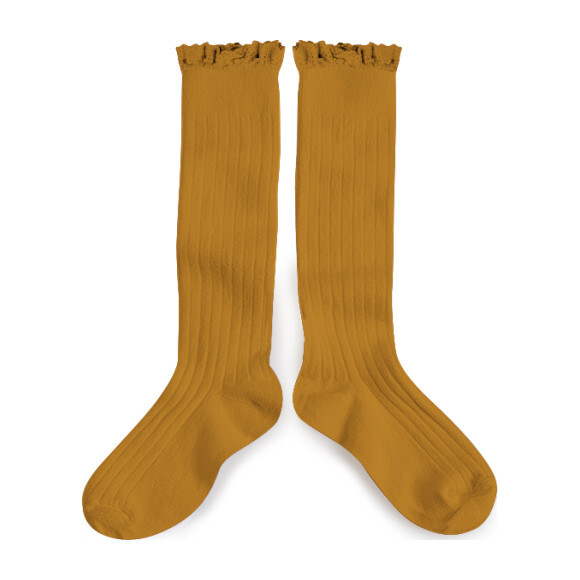Collégien Lace Trim Knee High Socks, Ochre