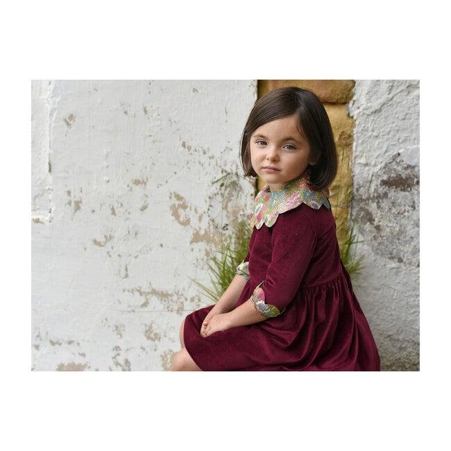 Cerva Dress, Burgundy with Liberty