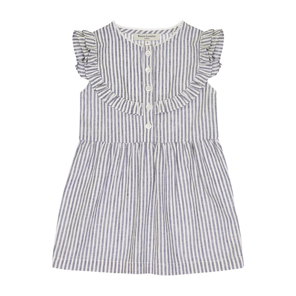 Brigitte Dress, Grey Stripes