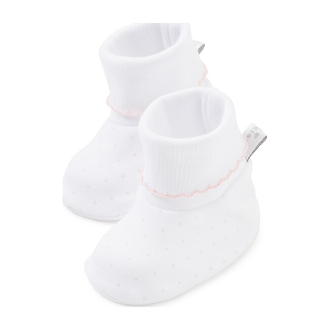 New Dots Booties, White/Pink