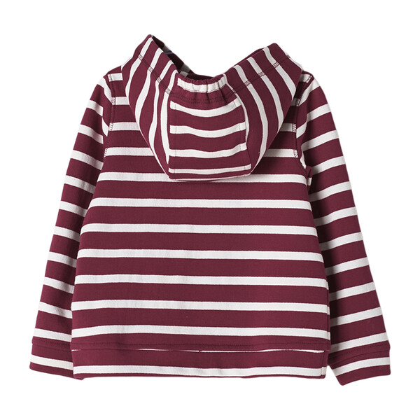 Striped Hooded Sweatshirt, Red