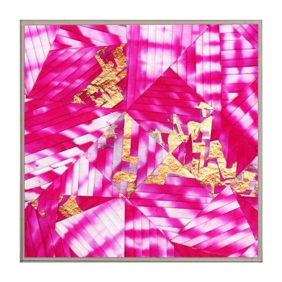 "Folded Shibori: Fuchsia, 16"" x 16"""