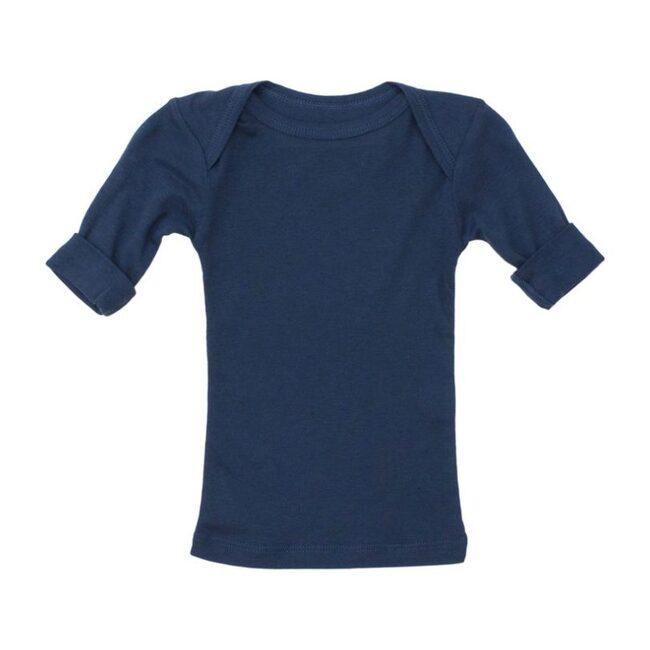 Rib Lap Shoulder Tee Short Sleeve Navy