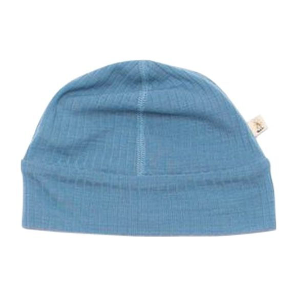 Merino Wool Ribbed Beanie, Blue