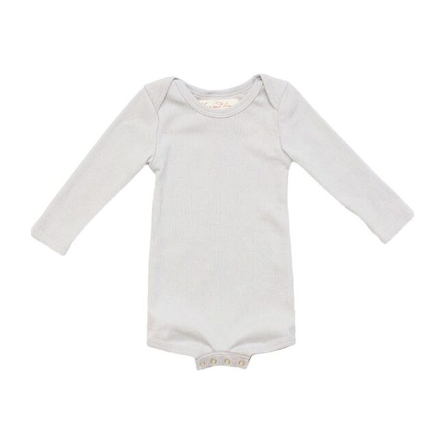 Long Sleeve Crawler with Snaps, Pale Gray