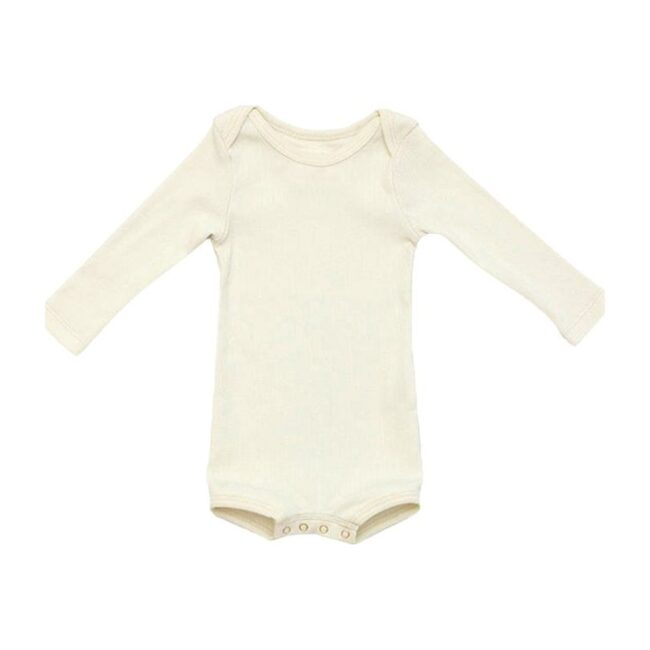 Long Sleeve Crawler with Snaps, Sand