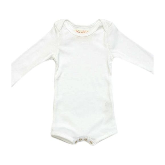 Long Sleeve Crawler with Snaps, White