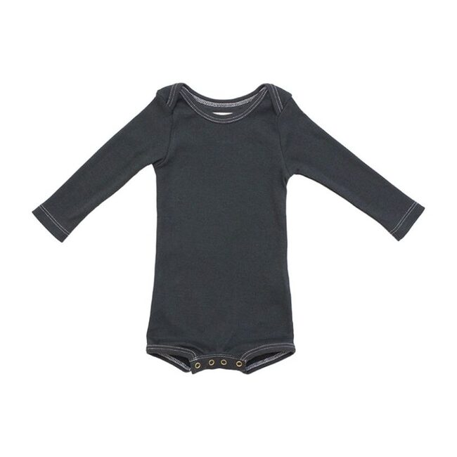 Long Sleeve Crawler with Snaps, Charcoal