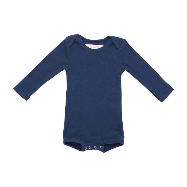 Long Sleeve Crawler with Snaps, Navy