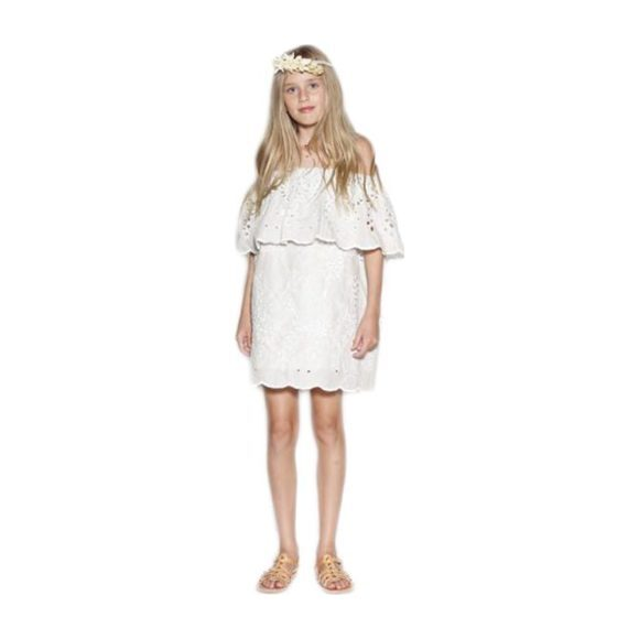 Isles Embroidered Off Shoulder Dress, Mint