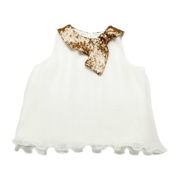 Megan Top with Gold Sequin Collar, White