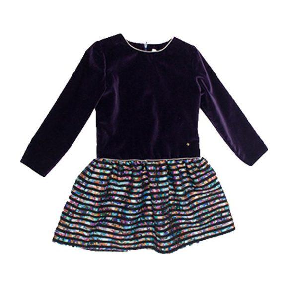 Jude Velvet Stripe Dress, Purple - Dresses - 1