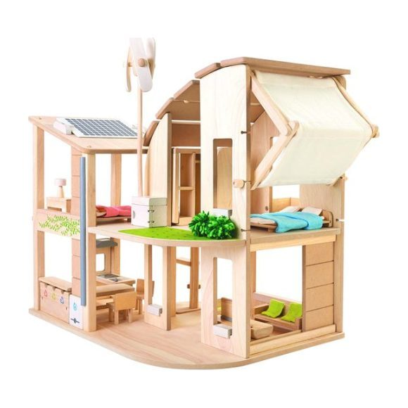 Green Dollhouse w/Furniture