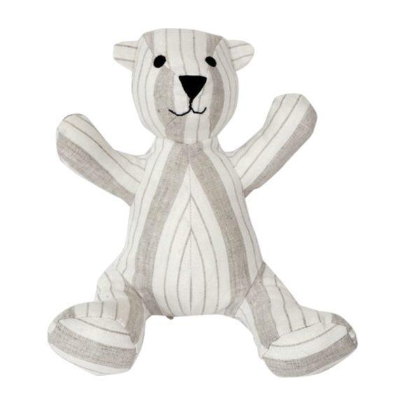 Teddy Bear in Striped Linen