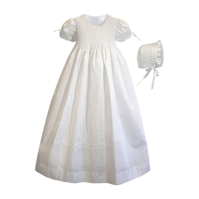 Pearl Gown & Bonnet, White Cotton