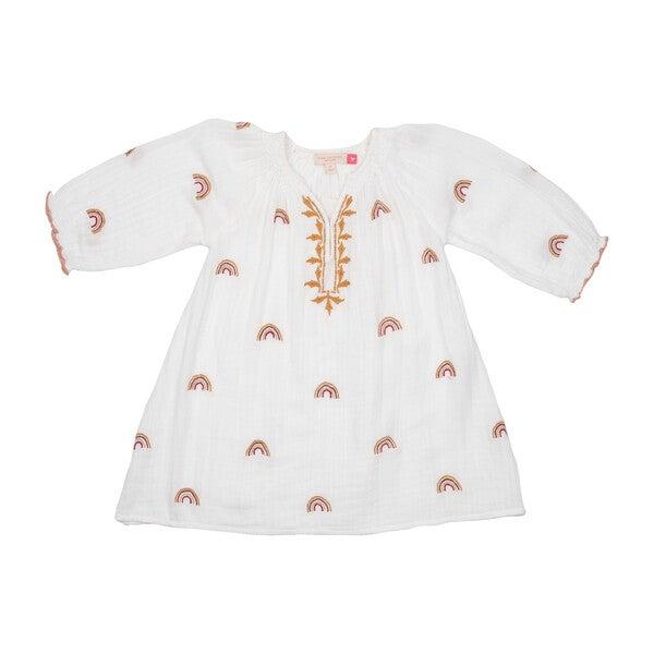 Ava Dress, Gardenia w/ Rainbow Embroidery
