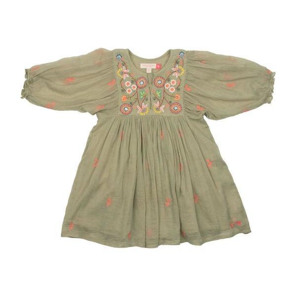 Ava Bella Dress, Green Tea w/ Multi Embroidery