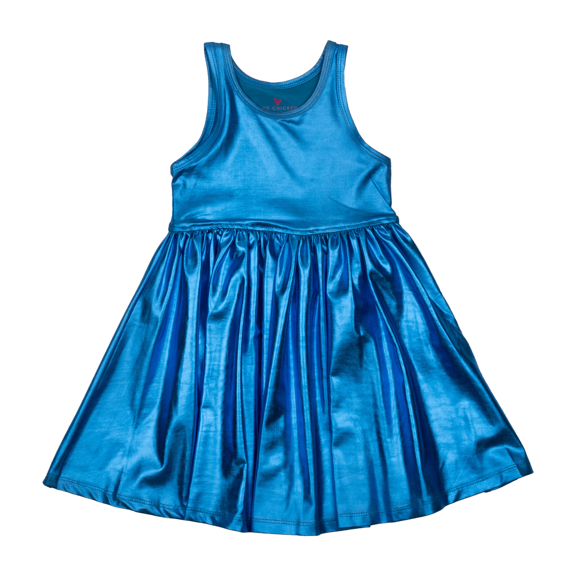 Liza Lame Dress, Blue Metallic