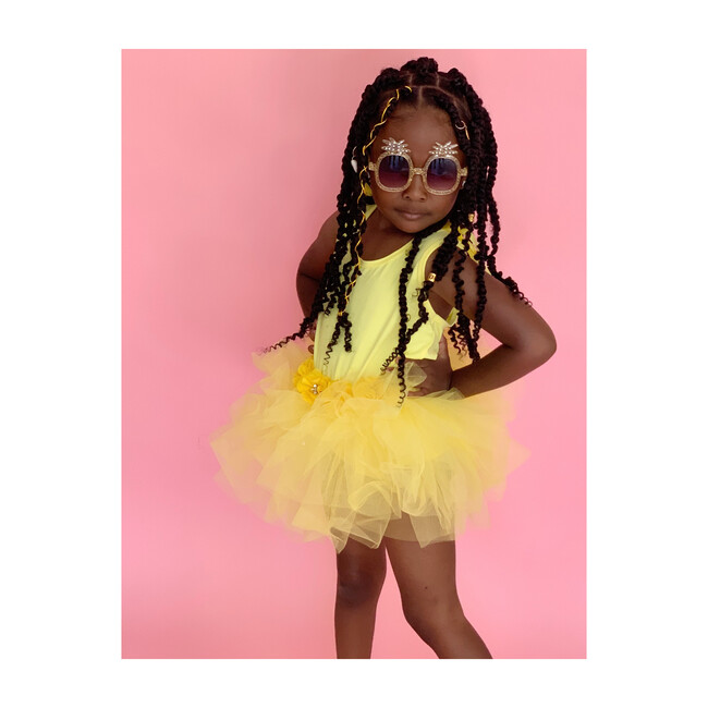 Talia Pineapple Sunglass Frame, Yellow