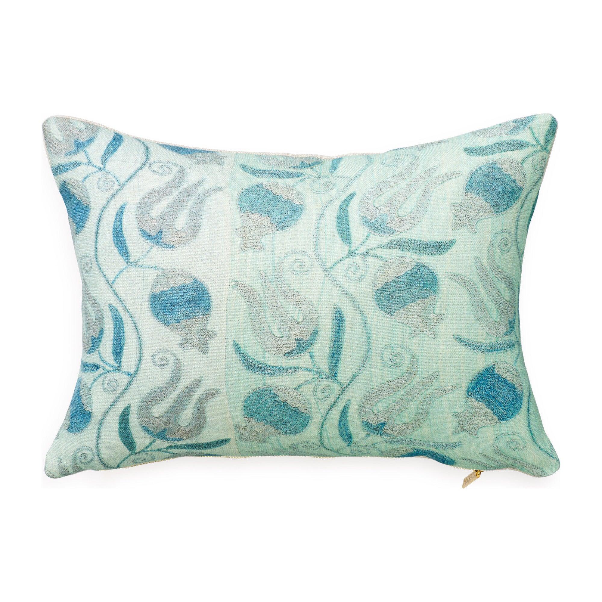 Pomegranate Lumbar Pillow Aqua Home Decor Decorative Pillows Throws Maisonette
