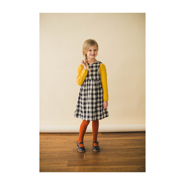 Pinafore Dress, Black Chex