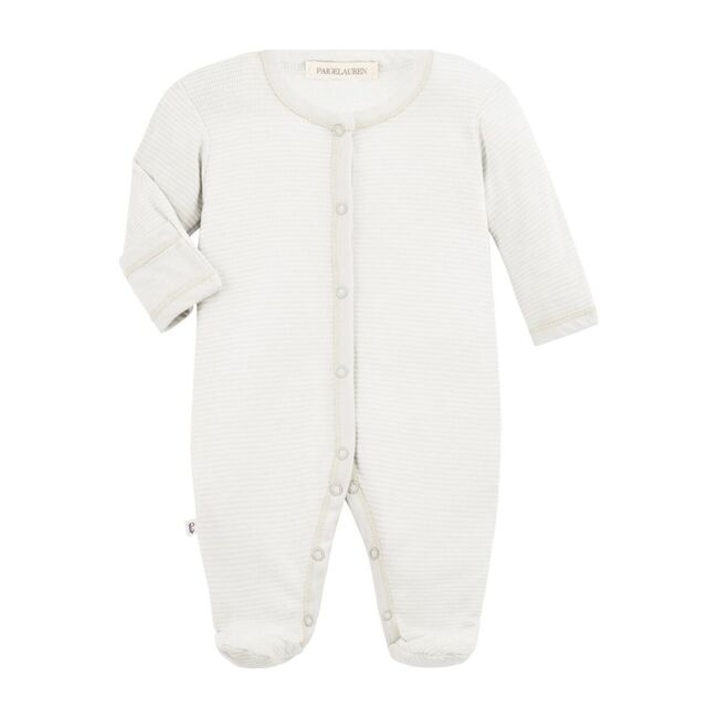 Classic Layette Baby Romper with Footie, White