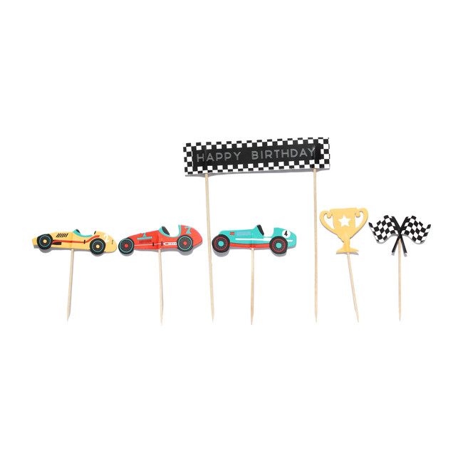 Vintage Race Car Cupcake Toppers